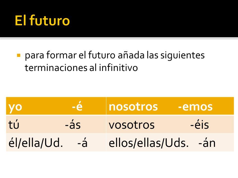 para formar el futuro añada las siguientes terminaciones al infinitivo yo -énosotros -emos tú -ásvosotros -éis él/ella/Ud. -áellos/ellas/Uds. -án