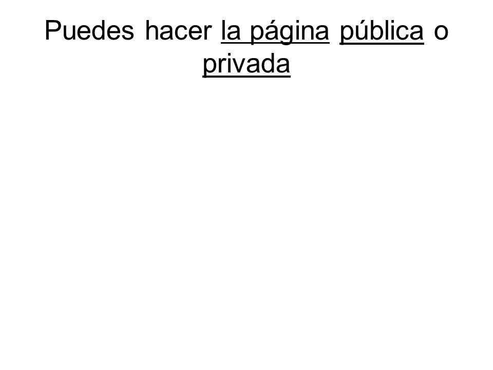 Puedes hacer la página pública o privada