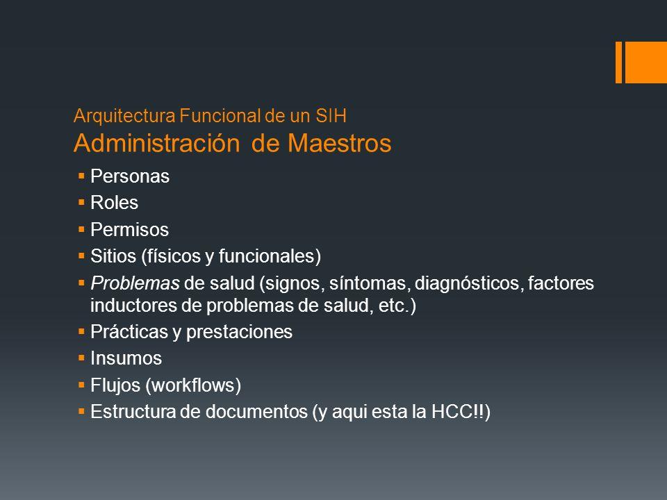 Arquitectura Funcional de un SIH Funciones Asistenciales Admisión, Egreso y Transferencia; Reserva de Servicios e Insumos; Órdenes; Registro de Observaciones; Sistemas Departamentales (?) Sistemas de Apoyo a la Decisión (?)