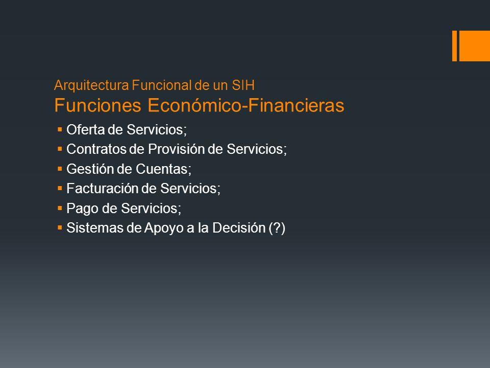 Arquitectura Funcional de un SIH Funciones Económico-Financieras Oferta de Servicios; Contratos de Provisión de Servicios; Gestión de Cuentas; Factura
