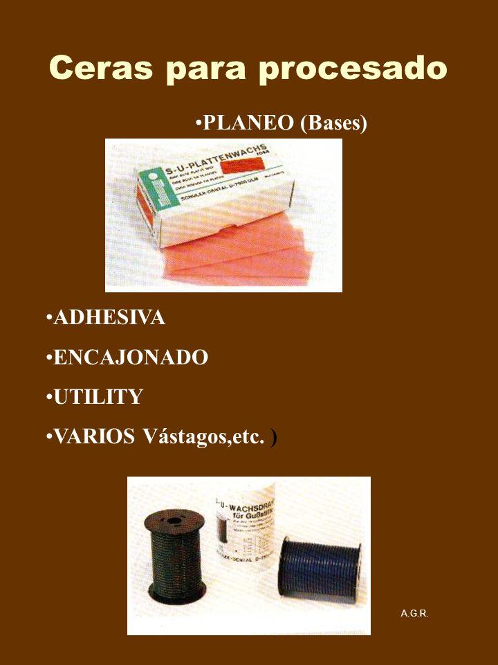 Ceras para procesado PLANEO (Bases) ADHESIVA ENCAJONADO UTILITY VARIOS Vástagos,etc. ) A.G.R.