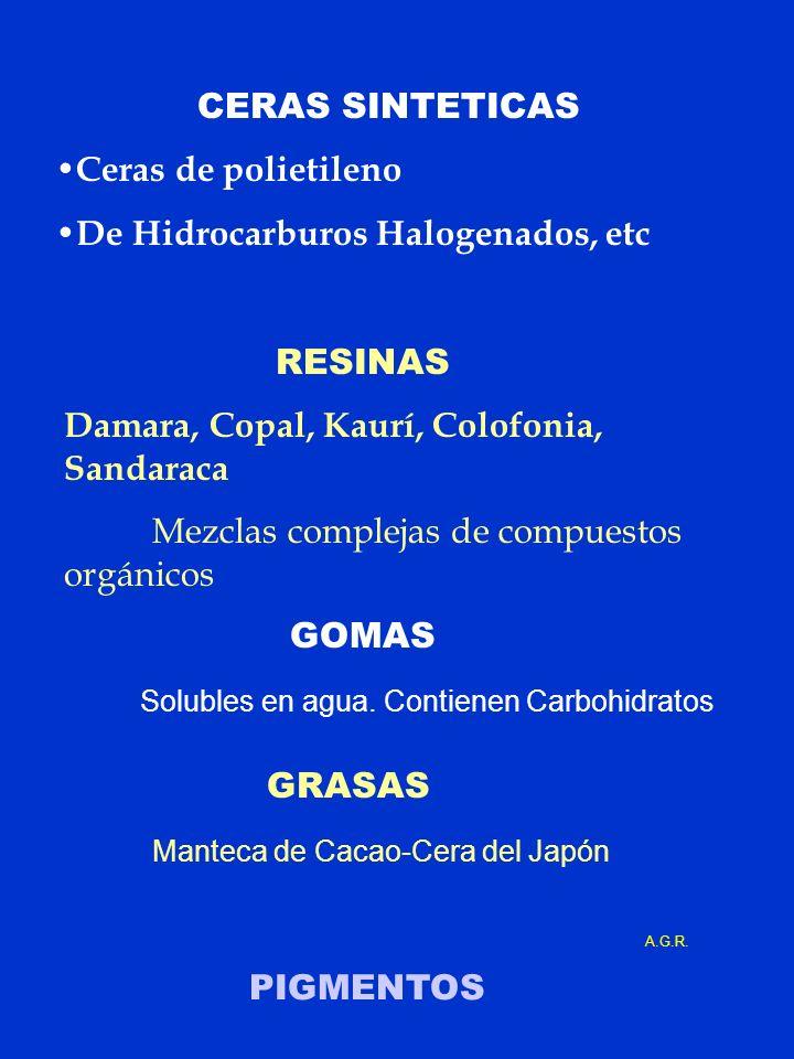 CERAS SINTETICAS Ceras de polietileno De Hidrocarburos Halogenados, etc RESINAS Damara, Copal, Kaurí, Colofonia, Sandaraca Mezclas complejas de compue