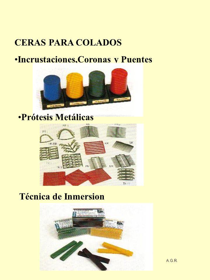 CERAS PARA COLADOS Incrustaciones,Coronas y Puentes Prótesis Metálicas Técnica de Inmersion A.G.R.