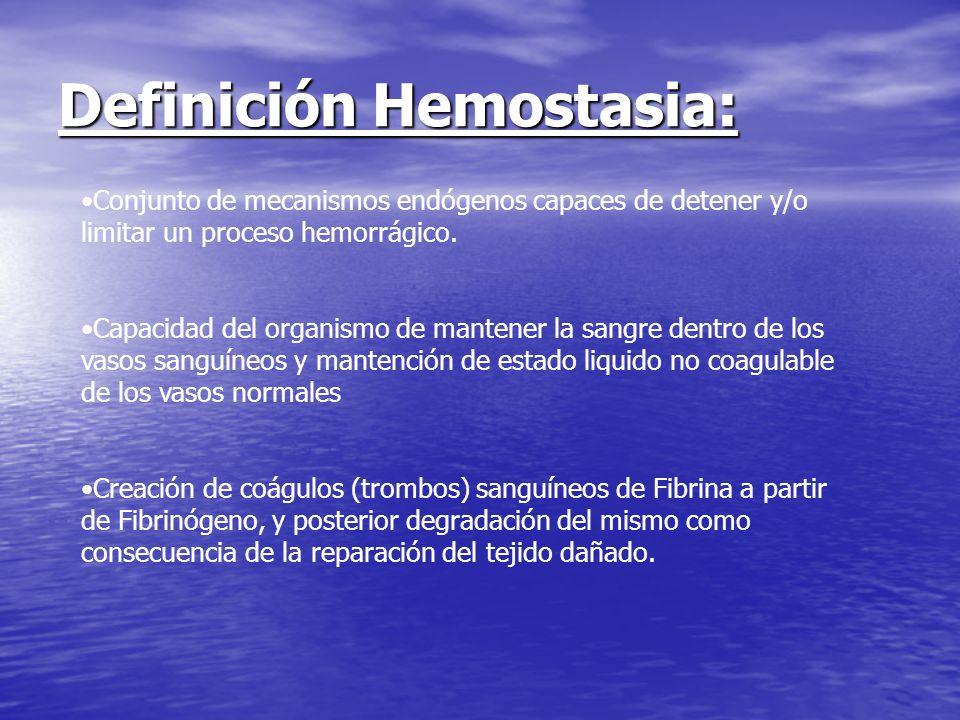 Definición Hemostasia: Conjunto de mecanismos endógenos capaces de detener y/o limitar un proceso hemorrágico. Capacidad del organismo de mantener la