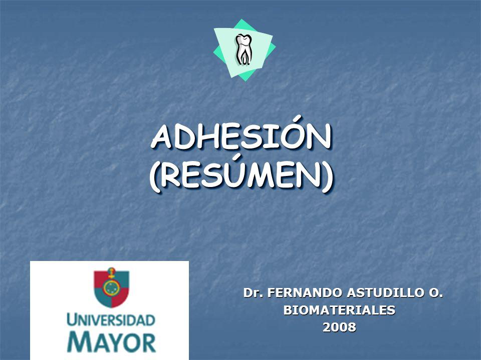 ADHESIÓN (RESÚMEN) Dr. FERNANDO ASTUDILLO O. Dr. FERNANDO ASTUDILLO O. BIOMATERIALES BIOMATERIALES 2008 2008