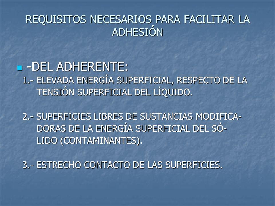 REQUISITOS NECESARIOS PARA FACILITAR LA ADHESIÓN -DEL ADHERENTE: -DEL ADHERENTE: 1.- ELEVADA ENERGÍA SUPERFICIAL, RESPECTO DE LA 1.- ELEVADA ENERGÍA S