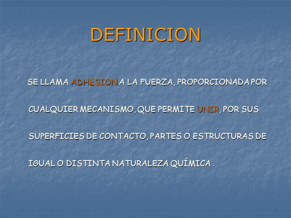 DEFINICION SE LLAMA ADHESION A LA FUERZA, PROPORCIONADA POR CUALQUIER MECANISMO, QUE PERMITE UNIR, POR SUS SUPERFICIES DE CONTACTO, PARTES O ESTRUCTUR