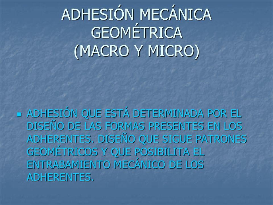 ADHESIÓN MECÁNICA GEOMÉTRICA (MACRO Y MICRO) ADHESIÓN QUE ESTÁ DETERMINADA POR EL DISEÑO DE LAS FORMAS PRESENTES EN LOS ADHERENTES. DISEÑO QUE SIGUE P