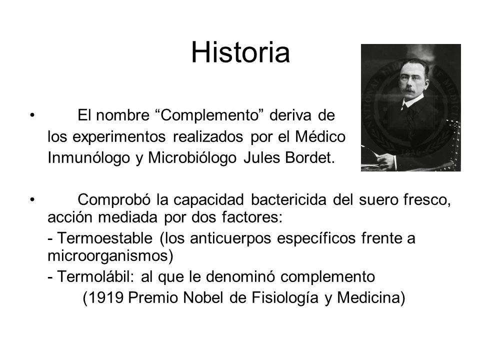 Historia El nombre Complemento deriva de los experimentos realizados por el Médico Inmunólogo y Microbiólogo Jules Bordet. Comprobó la capacidad bacte