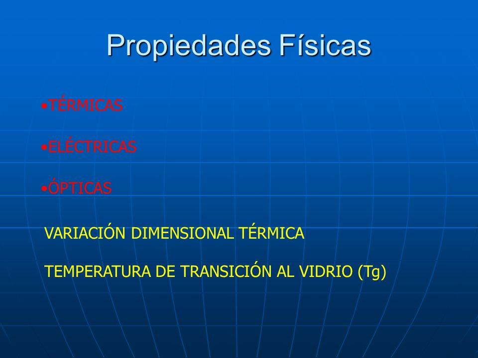 Propiedades Físicas TÉRMICAS ELÉCTRICAS ÓPTICAS VARIACIÓN DIMENSIONAL TÉRMICA TEMPERATURA DE TRANSICIÓN AL VIDRIO (Tg)