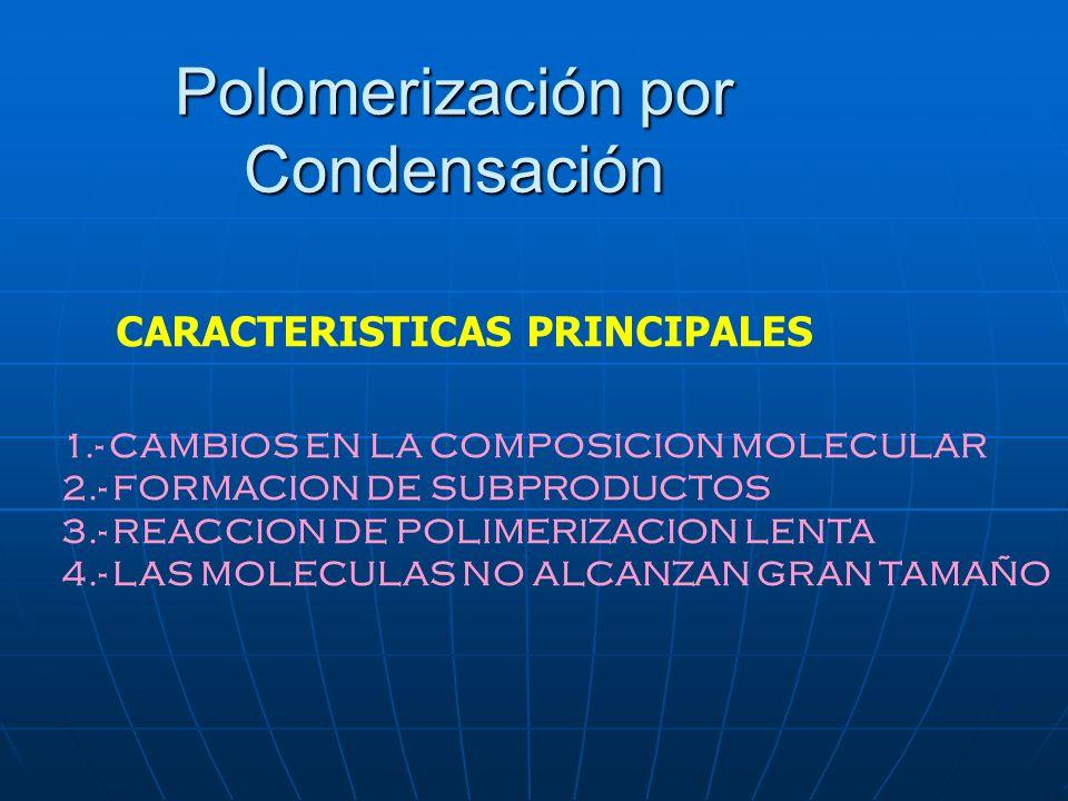Polomerización por Condensación 1.- CAMBIOS EN LA COMPOSICION MOLECULAR 2.- FORMACION DE SUBPRODUCTOS 3.- REACCION DE POLIMERIZACION LENTA 4.- LAS MOL