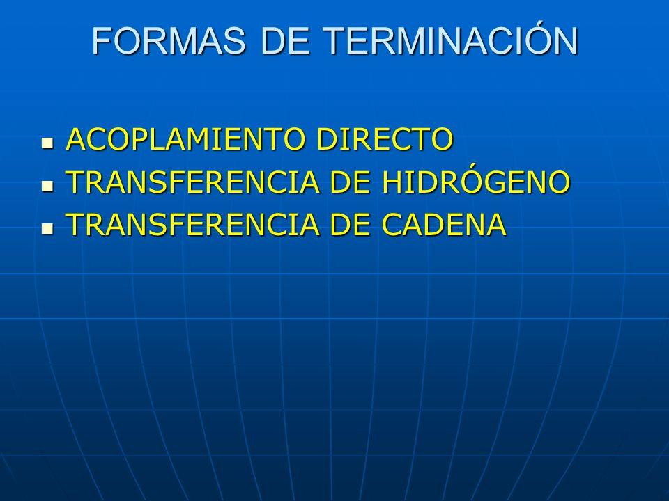 FORMAS DE TERMINACIÓN ACOPLAMIENTO DIRECTO ACOPLAMIENTO DIRECTO TRANSFERENCIA DE HIDRÓGENO TRANSFERENCIA DE HIDRÓGENO TRANSFERENCIA DE CADENA TRANSFER