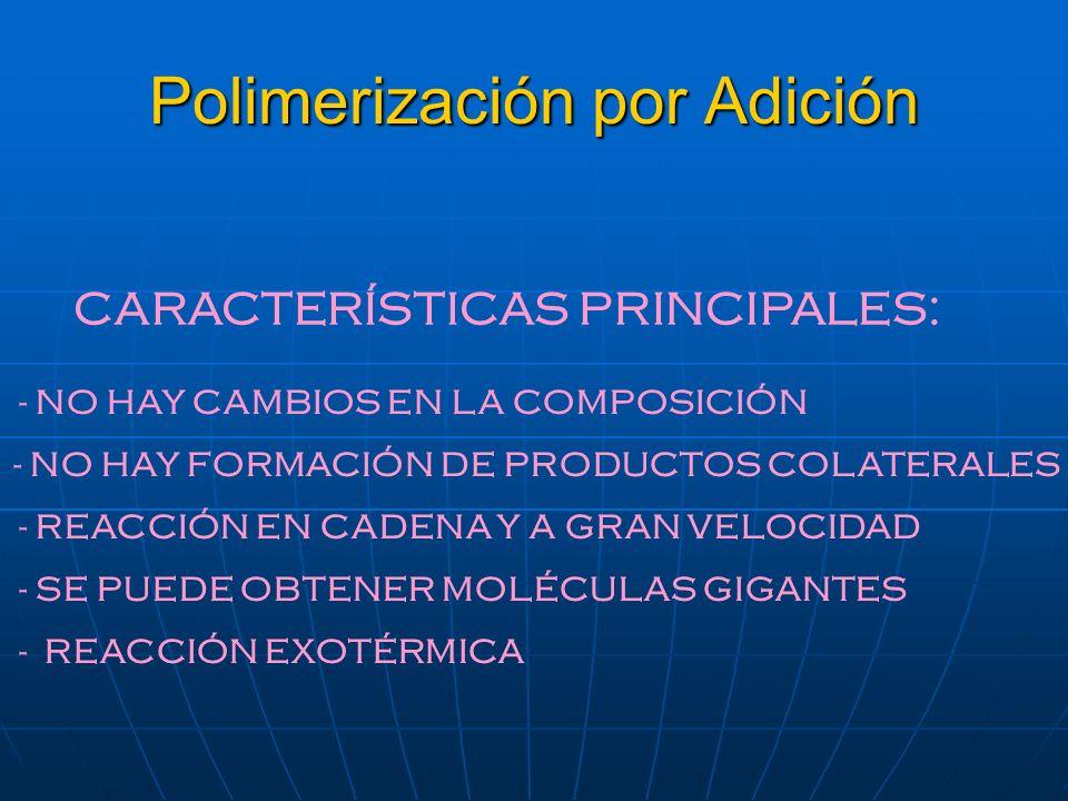 Polimerización por Adición CARACTERÍSTICAS PRINCIPALES: - NO HAY CAMBIOS EN LA COMPOSICIÓN - NO HAY FORMACIÓN DE PRODUCTOS COLATERALES - REACCIÓN EN C