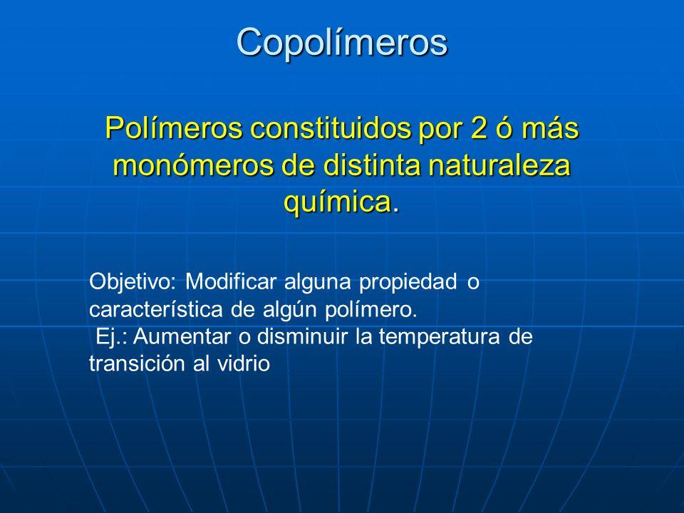 Copolímeros Polímeros constituidos por 2 ó más monómeros de distinta naturaleza química. Objetivo: Modificar alguna propiedad o característica de algú