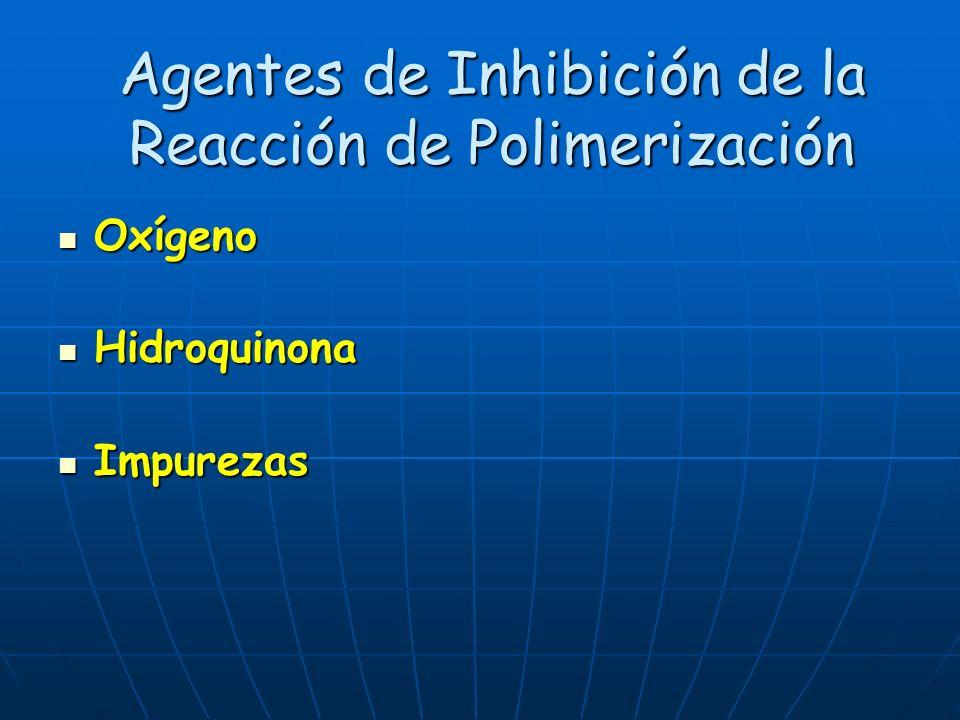 Agentes de Inhibición de la Reacción de Polimerización Oxígeno Oxígeno Hidroquinona Hidroquinona Impurezas Impurezas