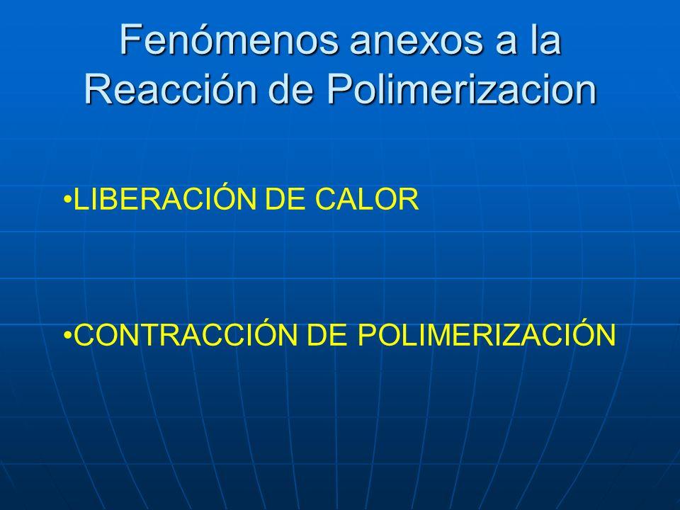 Fenómenos anexos a la Reacción de Polimerizacion LIBERACIÓN DE CALOR CONTRACCIÓN DE POLIMERIZACIÓN