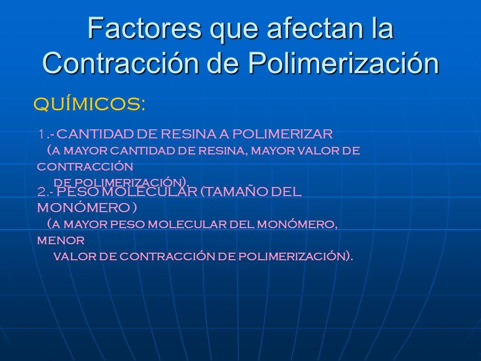Factores que afectan la Contracción de Polimerización 1.- CANTIDAD DE RESINA A POLIMERIZAR (a mayor cantidad de resina, mayor valor de contracción de
