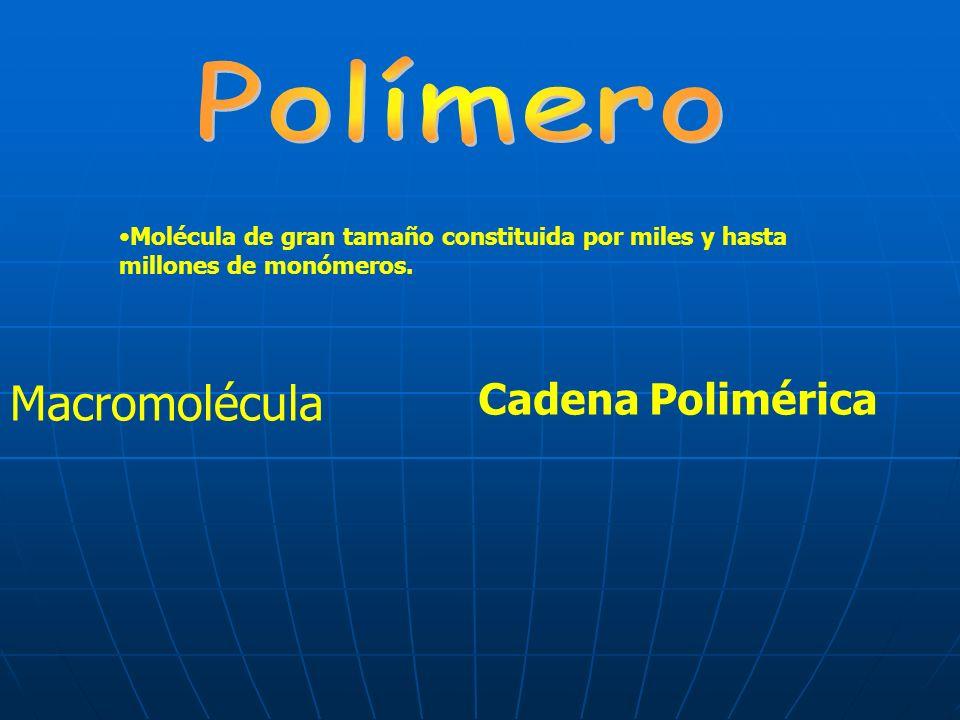 Cadena Polimérica Macromolécula Molécula de gran tamaño constituida por miles y hasta millones de monómeros.