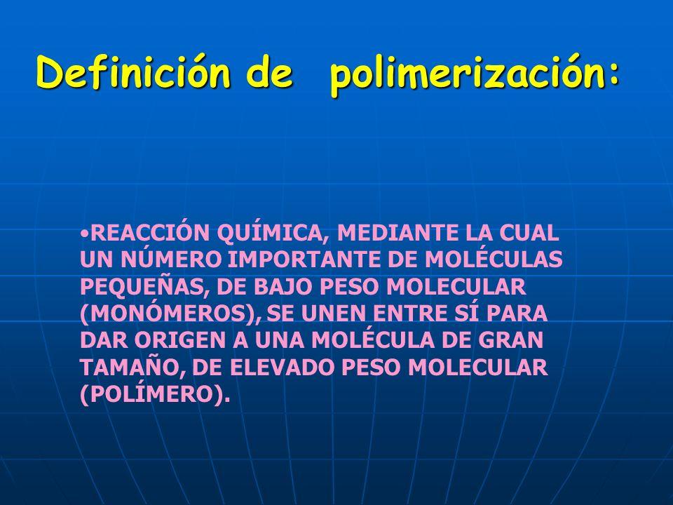 Definición de polimerización: REACCIÓN QUÍMICA, MEDIANTE LA CUAL UN NÚMERO IMPORTANTE DE MOLÉCULAS PEQUEÑAS, DE BAJO PESO MOLECULAR (MONÓMEROS), SE UN