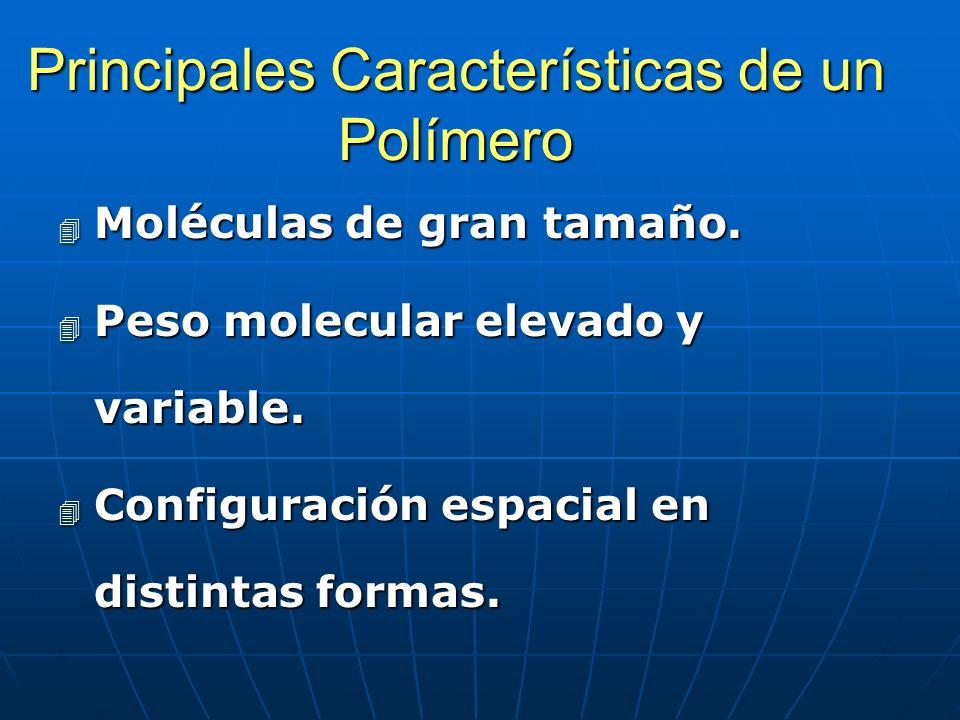 Principales Características de un Polímero 4 Moléculas de gran tamaño. 4 Peso molecular elevado y variable. 4 Configuración espacial en distintas form