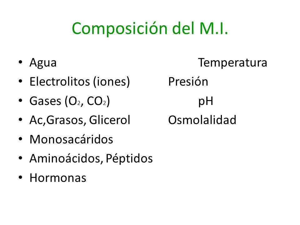 Composición del M.I. AguaTemperatura Electrolitos (iones)Presión Gases (O 2, CO 2 )pH Ac,Grasos, GlicerolOsmolalidad Monosacáridos Aminoácidos, Péptid