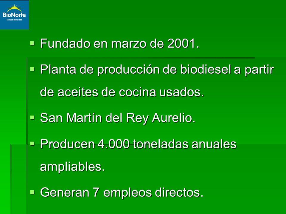 Fundado en marzo de 2001. Fundado en marzo de 2001. Planta de producción de biodiesel a partir de aceites de cocina usados. Planta de producción de bi