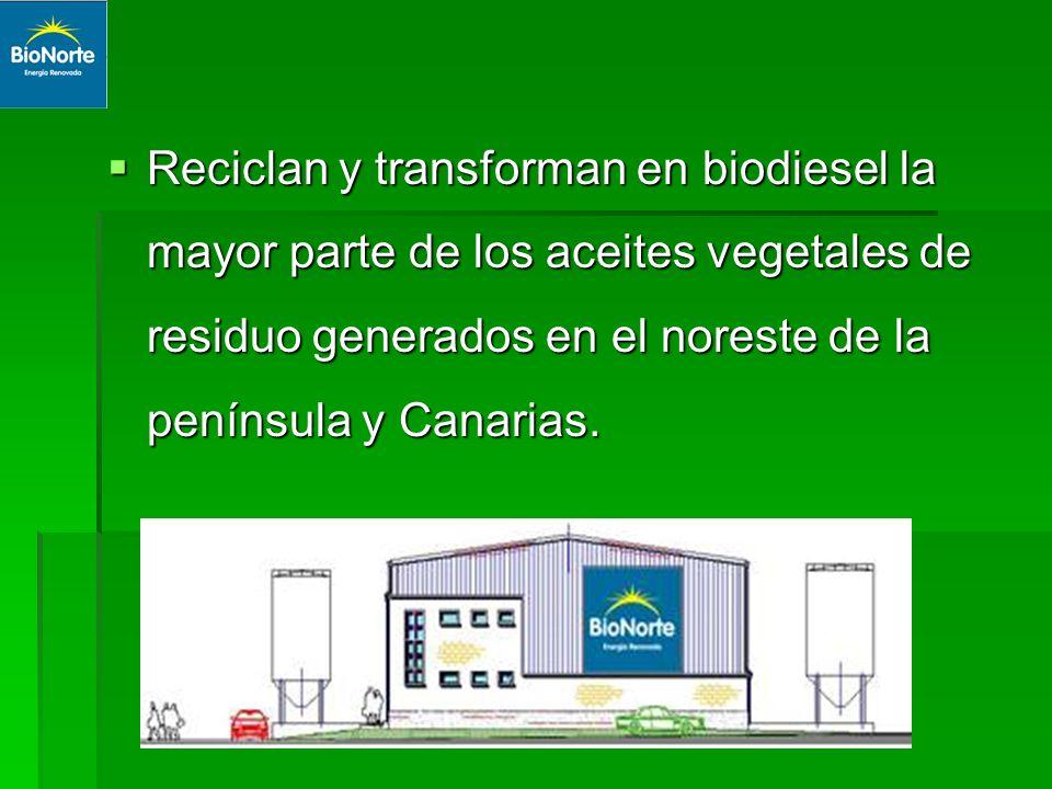 Reciclan y transforman en biodiesel la mayor parte de los aceites vegetales de residuo generados en el noreste de la península y Canarias. Reciclan y
