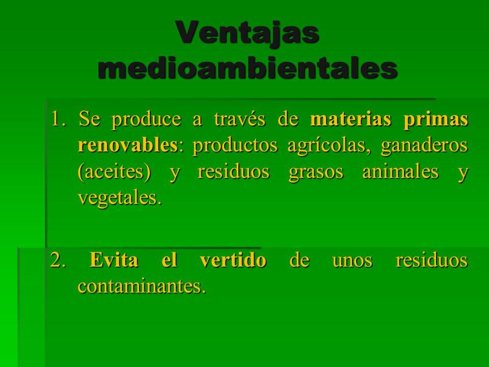 Ventajas medioambientales 1. Se produce a través de materias primas renovables: productos agrícolas, ganaderos (aceites) y residuos grasos animales y