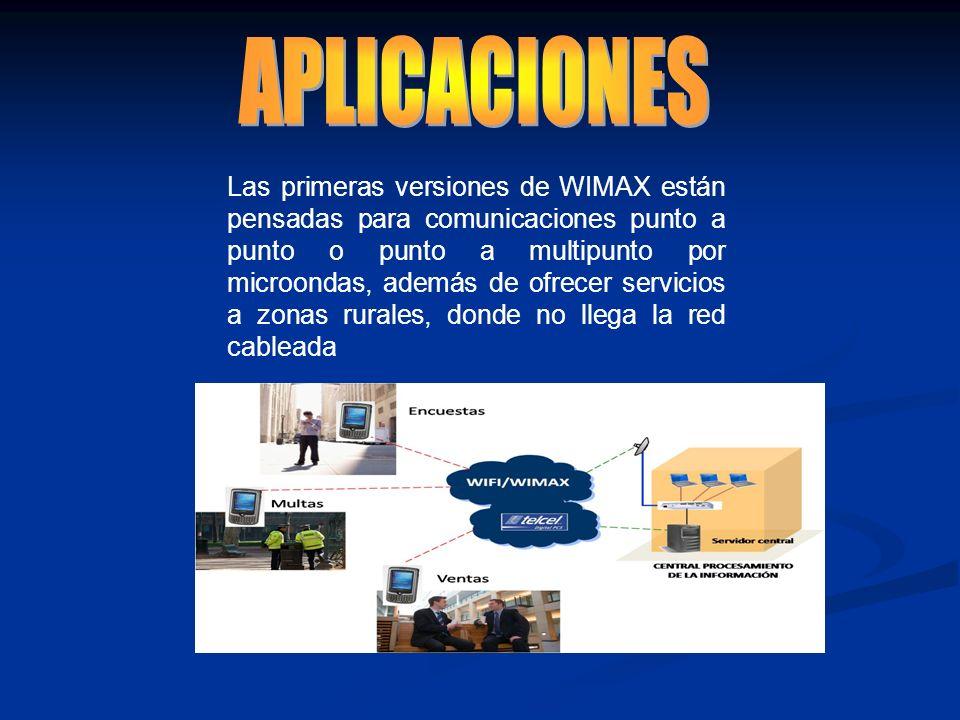 Las primeras versiones de WIMAX están pensadas para comunicaciones punto a punto o punto a multipunto por microondas, además de ofrecer servicios a zo