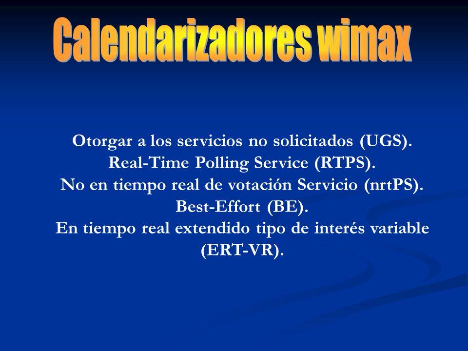 Otorgar a los servicios no solicitados (UGS). Real-Time Polling Service (RTPS). No en tiempo real de votación Servicio (nrtPS). Best-Effort (BE). En t
