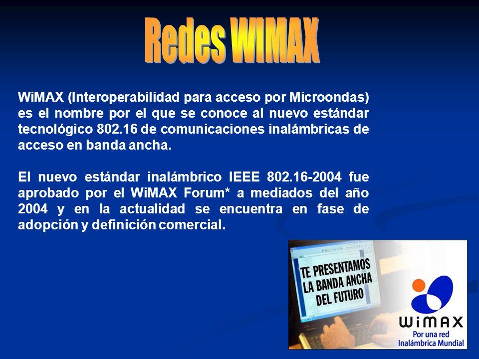 WiMAX (Interoperabilidad para acceso por Microondas) es el nombre por el que se conoce al nuevo estándar tecnológico 802.16 de comunicaciones inalámbr