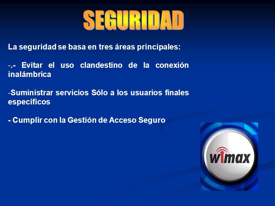 La seguridad se basa en tres áreas principales: -.- Evitar el uso clandestino de la conexión inalámbrica -Suministrar servicios Sólo a los usuarios fi