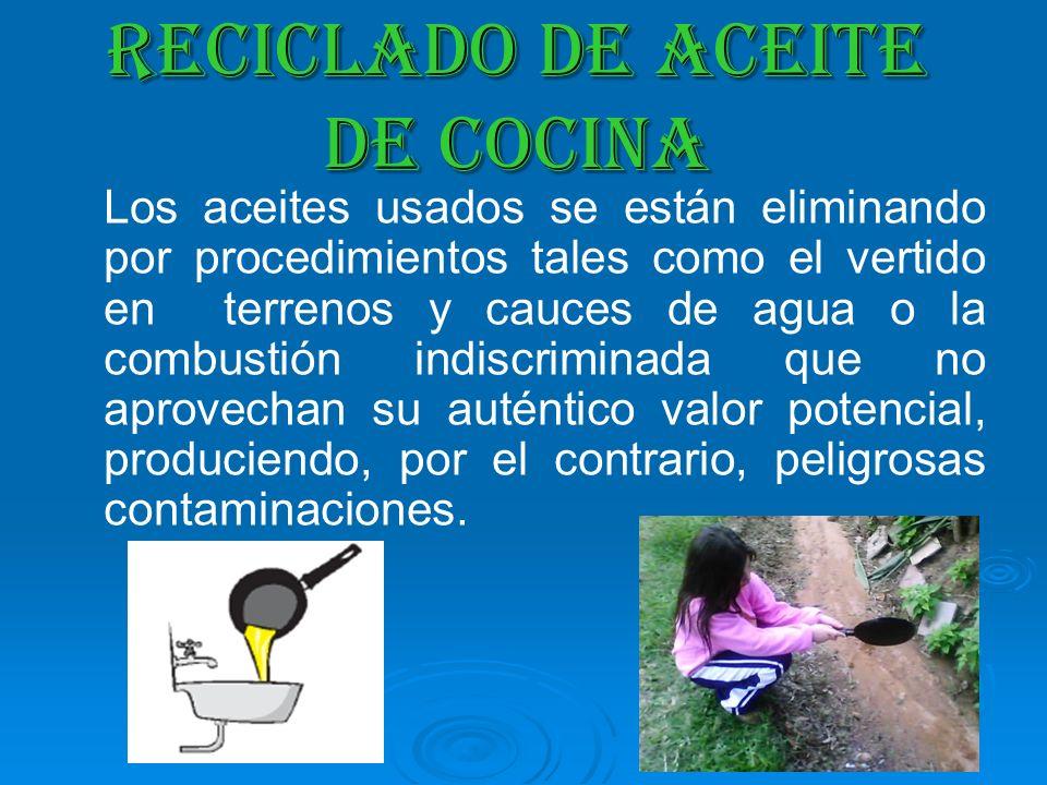 RECICLADO DE ACEITE DE COCINA Los aceites usados se están eliminando por procedimientos tales como el vertido en terrenos y cauces de agua o la combus