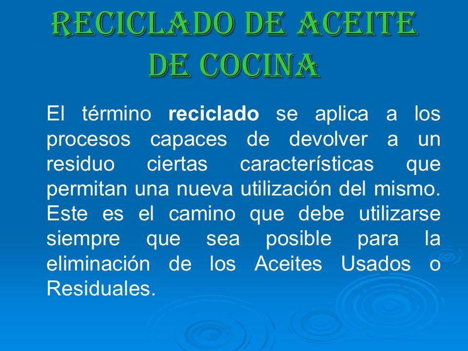 RECICLADO DE ACEITE DE COCINA El término reciclado se aplica a los procesos capaces de devolver a un residuo ciertas características que permitan una
