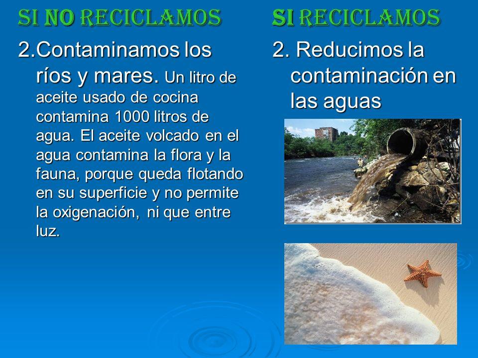 SI NO RECICLAMOS 2.Contaminamos los ríos y mares. Un litro de aceite usado de cocina contamina 1000 litros de agua. El aceite volcado en el agua conta