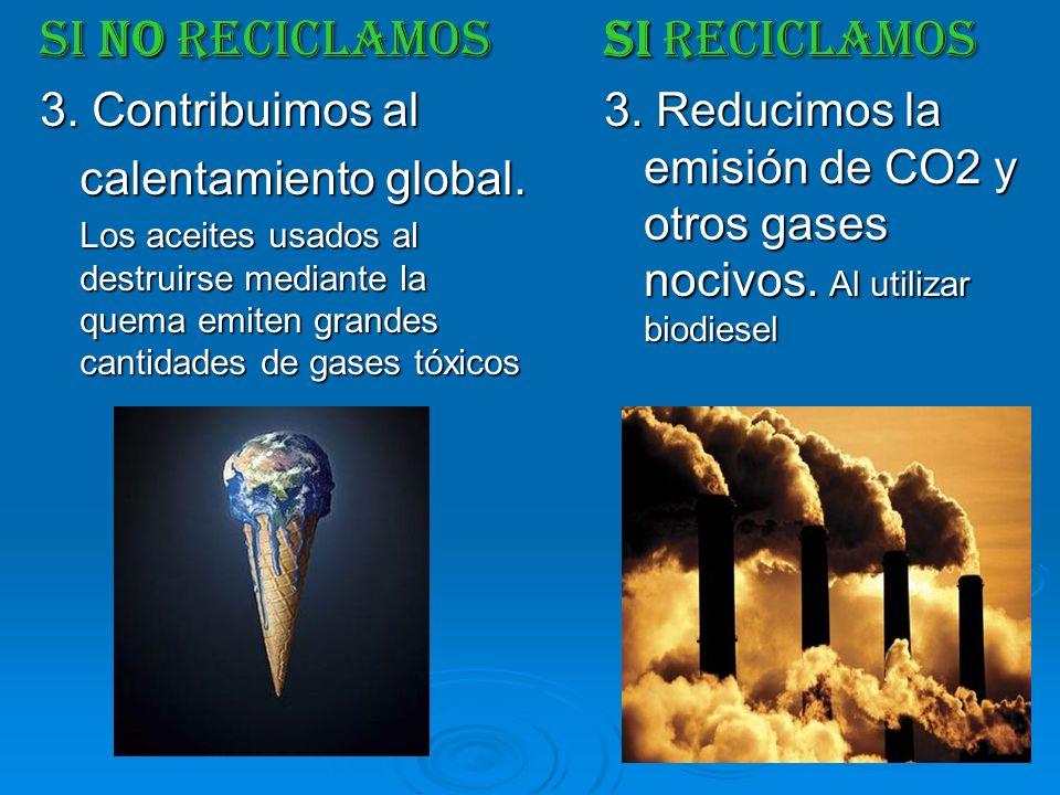 SI NO RECICLAMOS 3. Contribuimos al calentamiento global. Los aceites usados al destruirse mediante la quema emiten grandes cantidades de gases tóxico