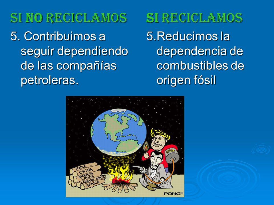 SI NO RECICLAMOS 5. Contribuimos a seguir dependiendo de las compañías petroleras. SI RECICLAMOS 5.Reducimos la dependencia de combustibles de origen