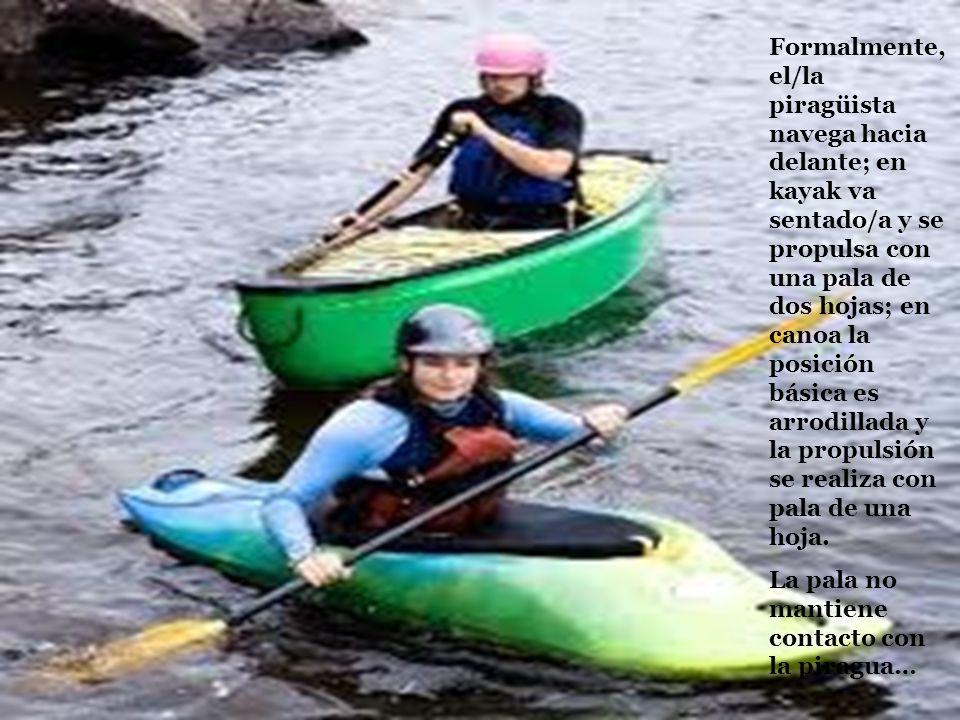Formalmente, el/la piragüista navega hacia delante; en kayak va sentado/a y se propulsa con una pala de dos hojas; en canoa la posición básica es arro