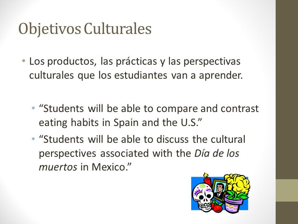Objetivos Culturales Los productos, las prácticas y las perspectivas culturales que los estudiantes van a aprender.