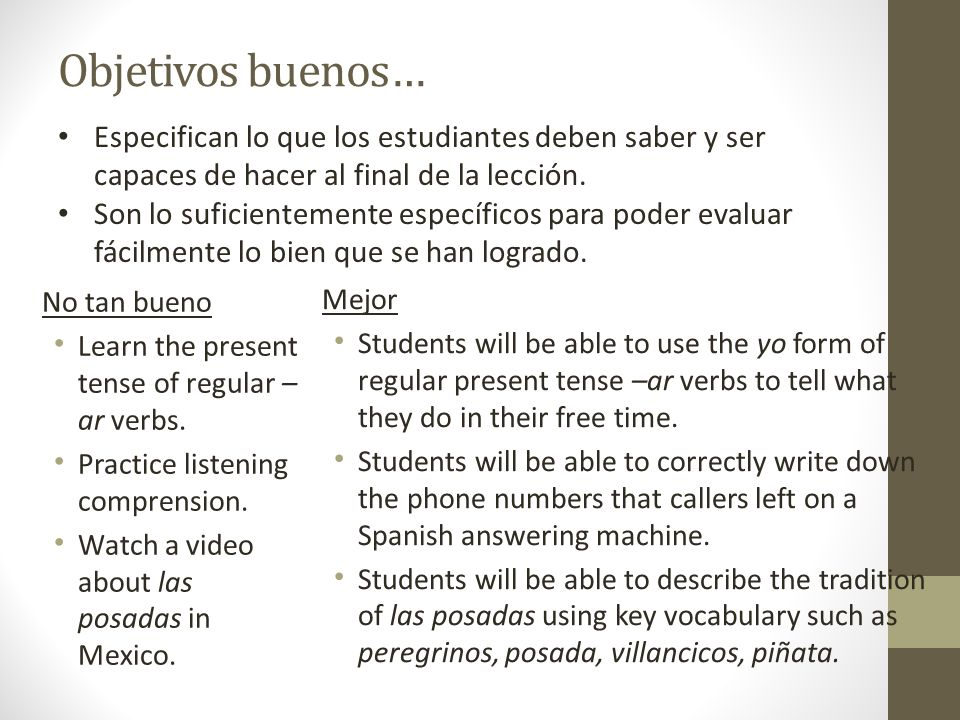 Objetivos buenos… No tan bueno Learn the present tense of regular – ar verbs.