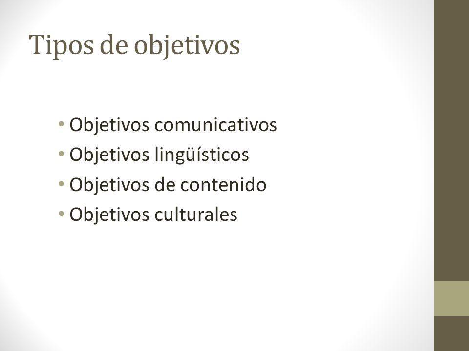 Tipos de objetivos Objetivos comunicativos Objetivos lingüísticos Objetivos de contenido Objetivos culturales