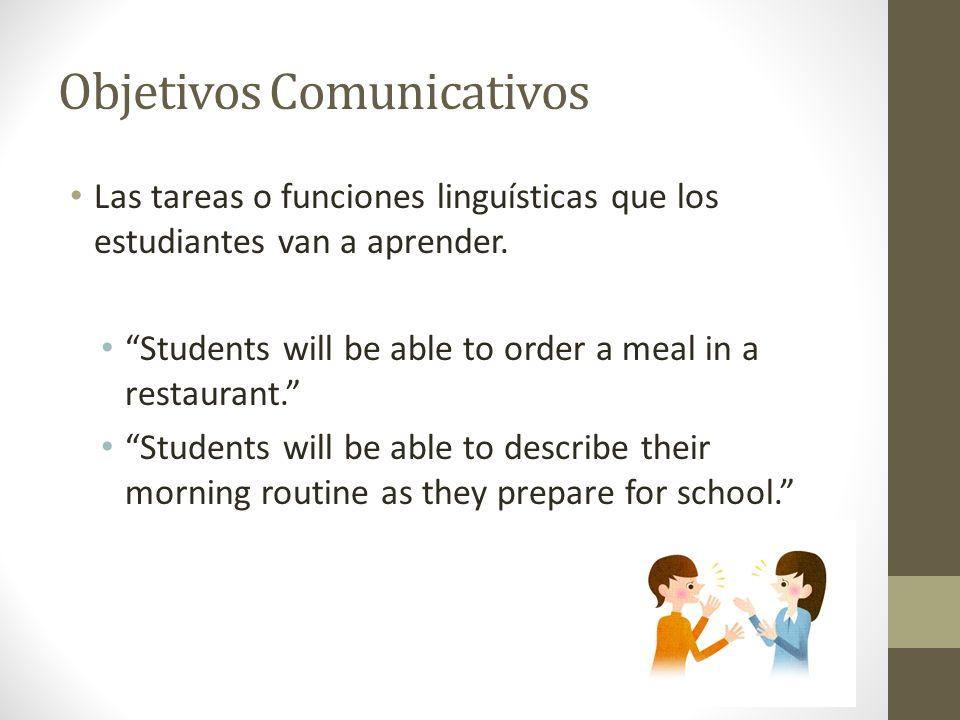 Objetivos Comunicativos Las tareas o funciones linguísticas que los estudiantes van a aprender.