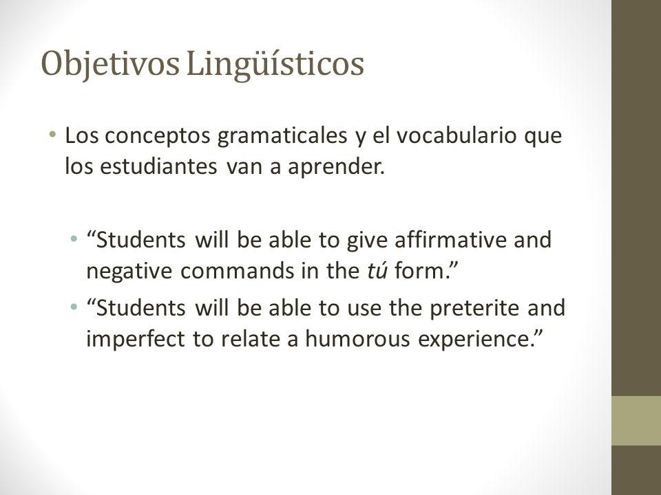Objetivos Lingüísticos Los conceptos gramaticales y el vocabulario que los estudiantes van a aprender.