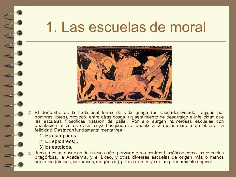 1. Las escuelas de moral El derrumbe de la tradicional forma de vida griega (en Ciudades-Estado, regidas por hombres libres), provocó, entre otras cos