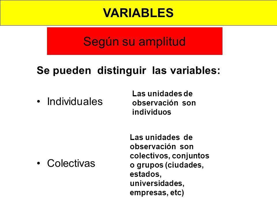 Según su amplitud Se pueden distinguir las variables: Individuales Colectivas Las unidades de observación son individuos Las unidades de observación s