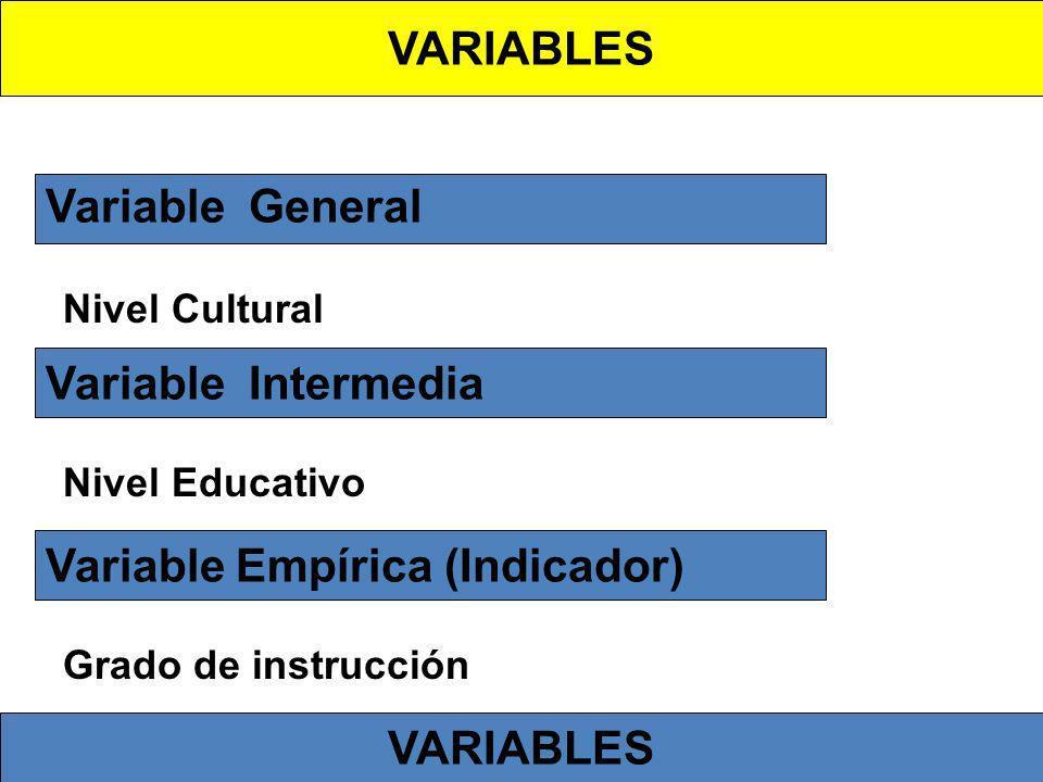 Variable General Nivel Cultural Variable Intermedia Nivel Educativo Variable Empírica (Indicador) Grado de instrucción