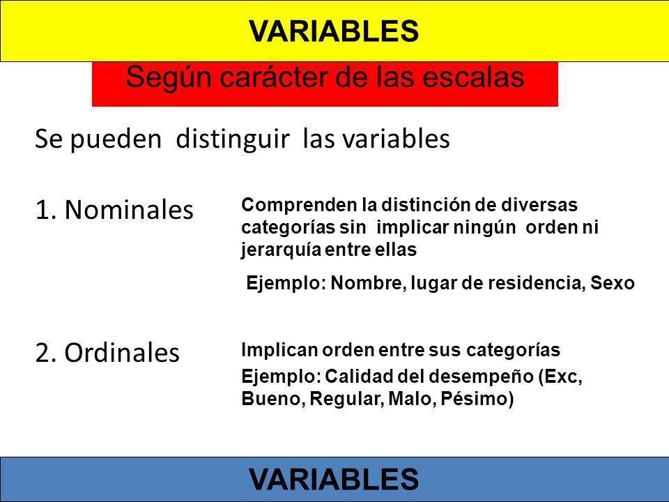 Según carácter de las escalas Se pueden distinguir las variables 1. Nominales 2. Ordinales Comprenden la distinción de diversas categorías sin implica