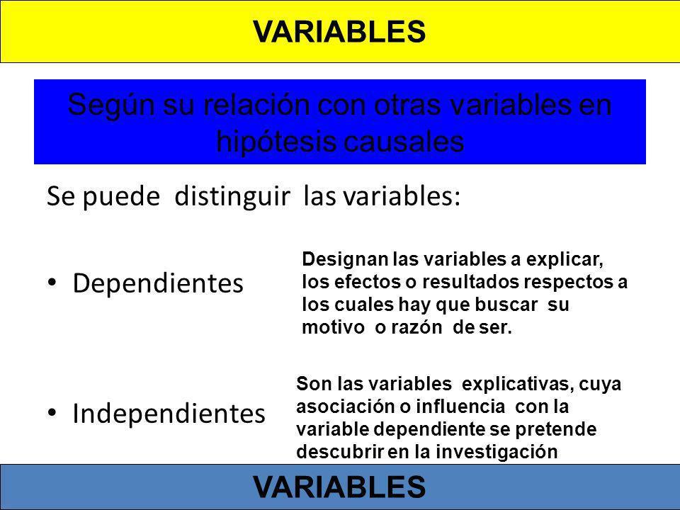 Según su relación con otras variables en hipótesis causales Se puede distinguir las variables: Dependientes Independientes Designan las variables a ex