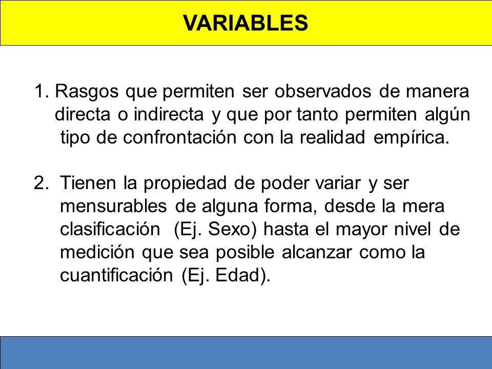VARIABLES 1. Rasgos que permiten ser observados de manera directa o indirecta y que por tanto permiten algún tipo de confrontación con la realidad emp