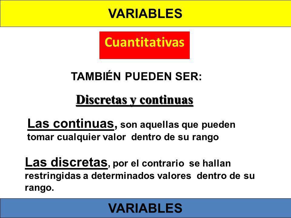 Cuantitativas Discretas y continuas Las continuas, son aquellas que pueden tomar cualquier valor dentro de su rango Las discretas, por el contrario se